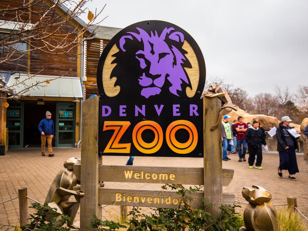Entrance sign at the Denver Zoo welcoming visitors