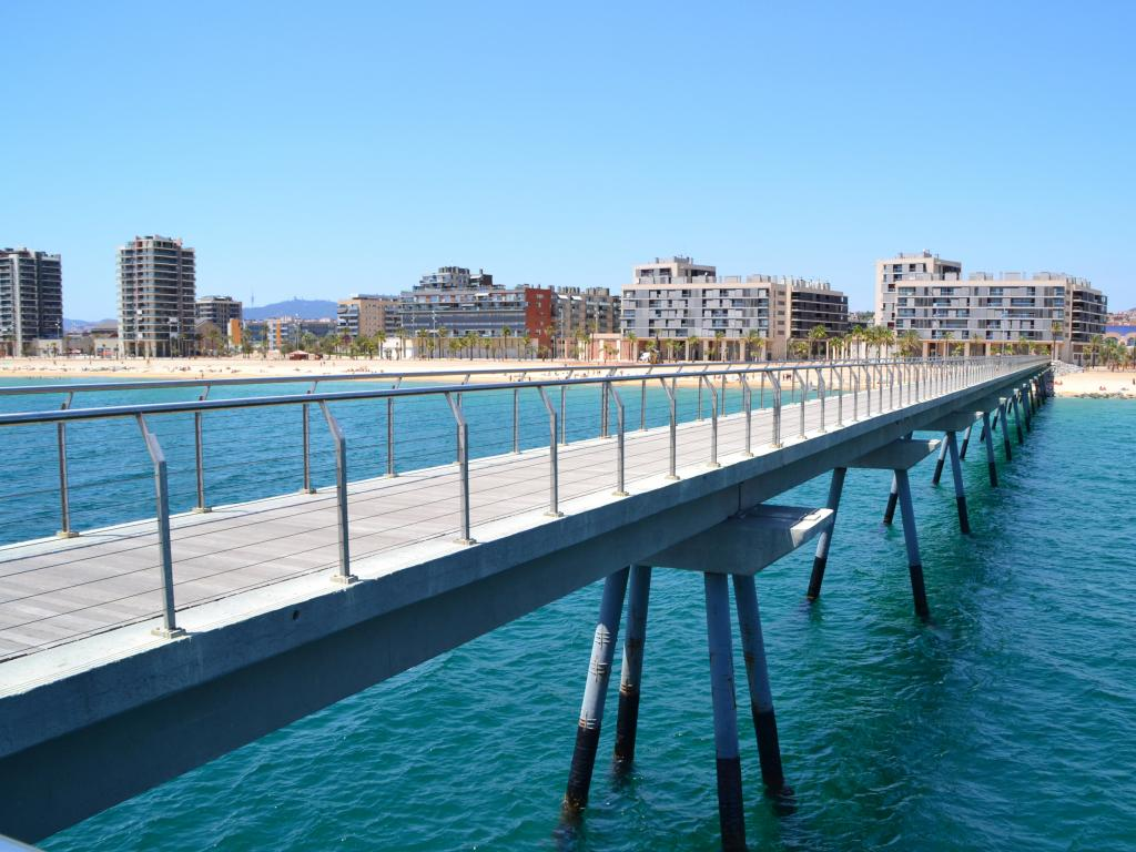 Pedestrian Oil Bridge in Badalona, Catalonia, Spain