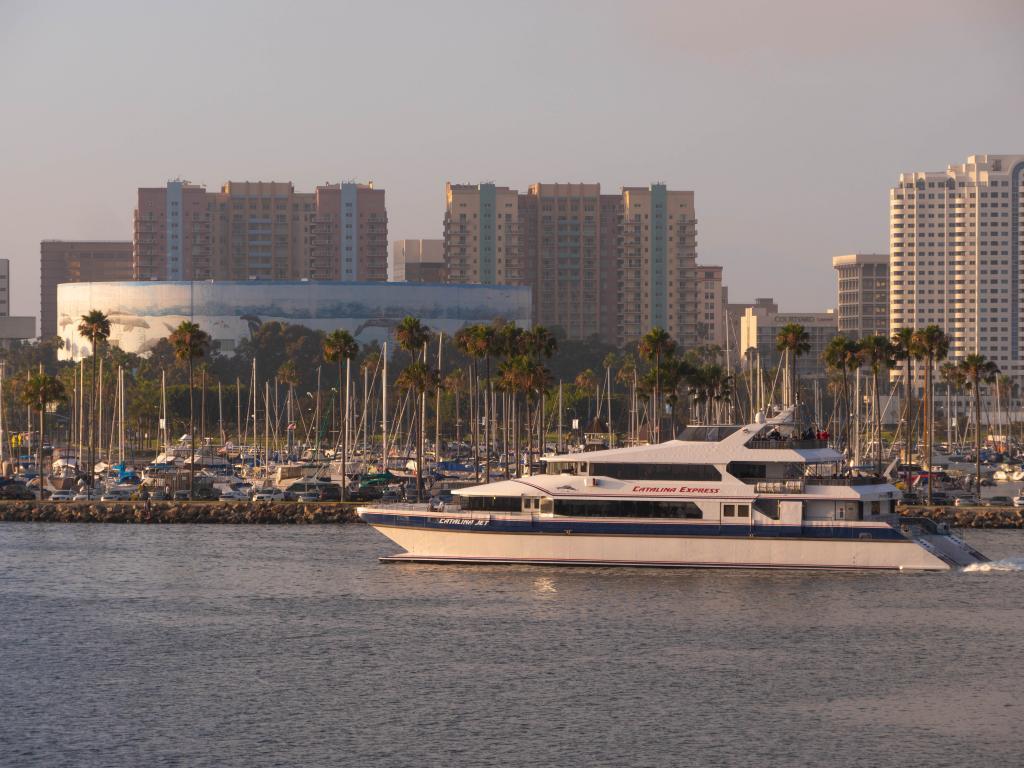 Catalina Express is cruising along Long Beach Harbor during sunset.