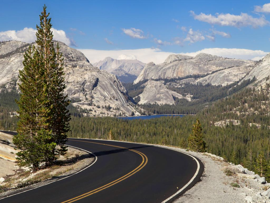 Tioga Pass road at Olmsted Point in the Yosemite National Park.