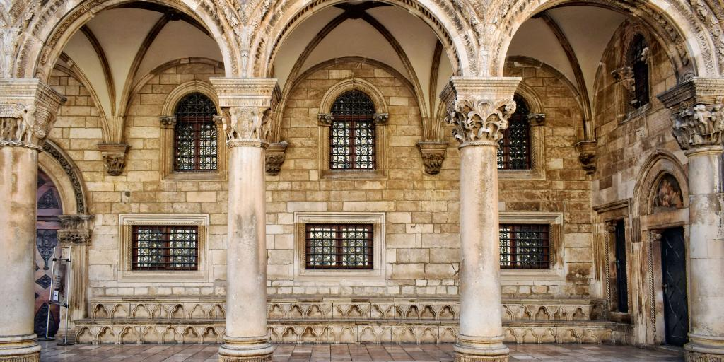 The grand arches of Rector's Palace in Dubrovnik, Croatia