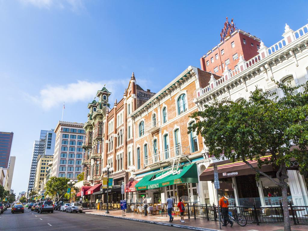 The Gaslamp Quarter Historic District in San Diego on a clear and warm sunny day in June
