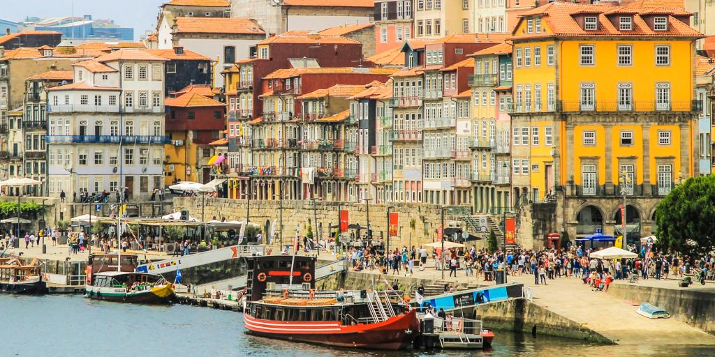 Ribeira neighbourhood of colourful houses over the river, Porto