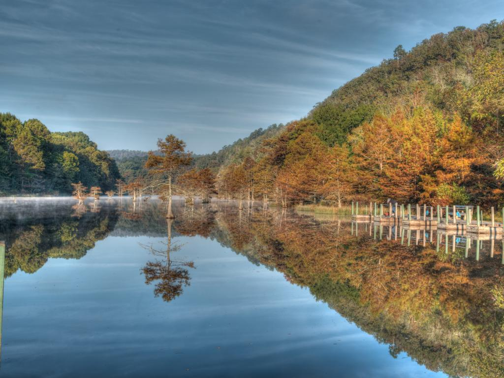A lake in the Beavers Bend State Park, Oklahoma in the fall.