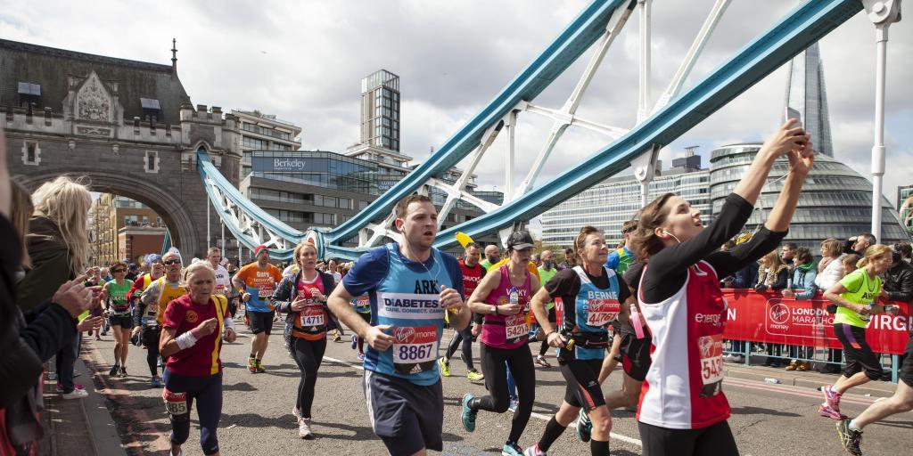 Runners going across Tower Bridge during the London Marathon