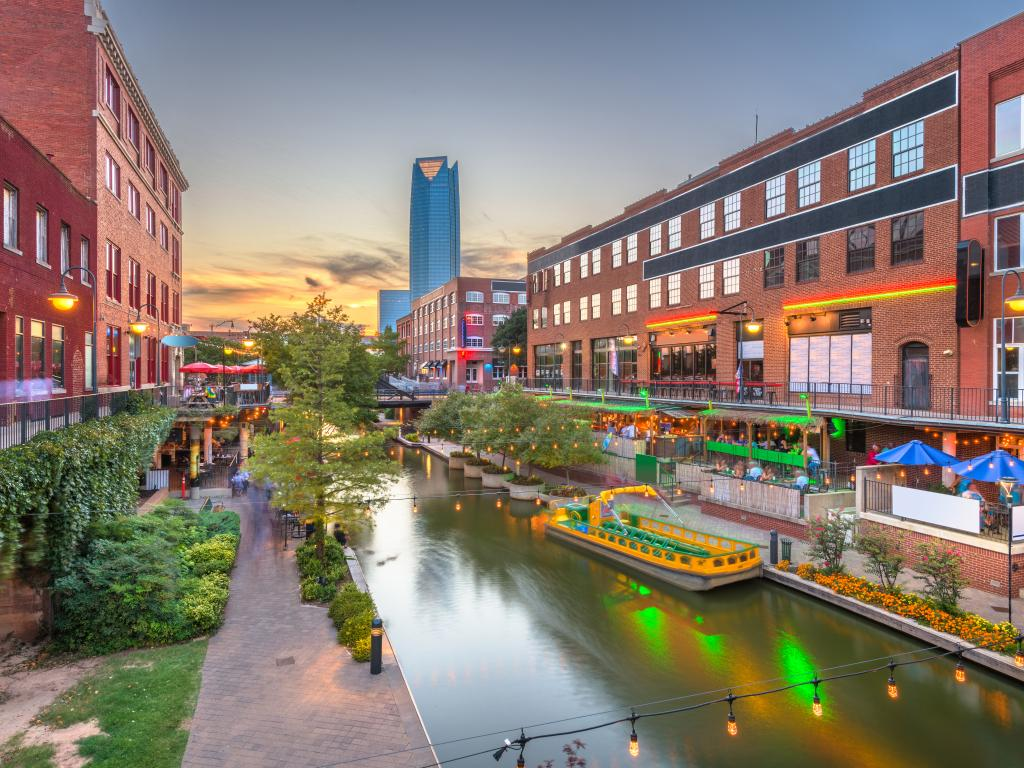 Restaurants and bars along a canal in the Bricktown neighborhood in Oklahoma City.