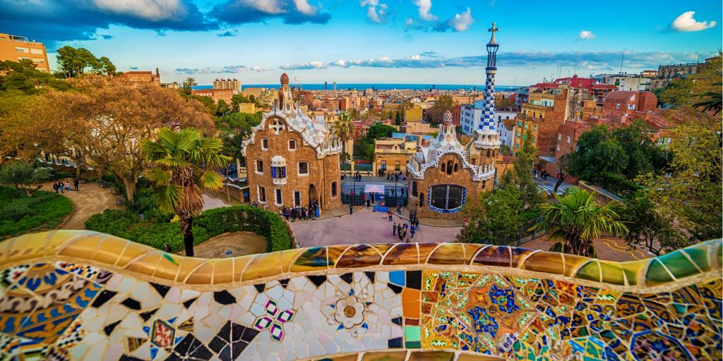 The colourful tiled walls of Park Guell in Barcelona