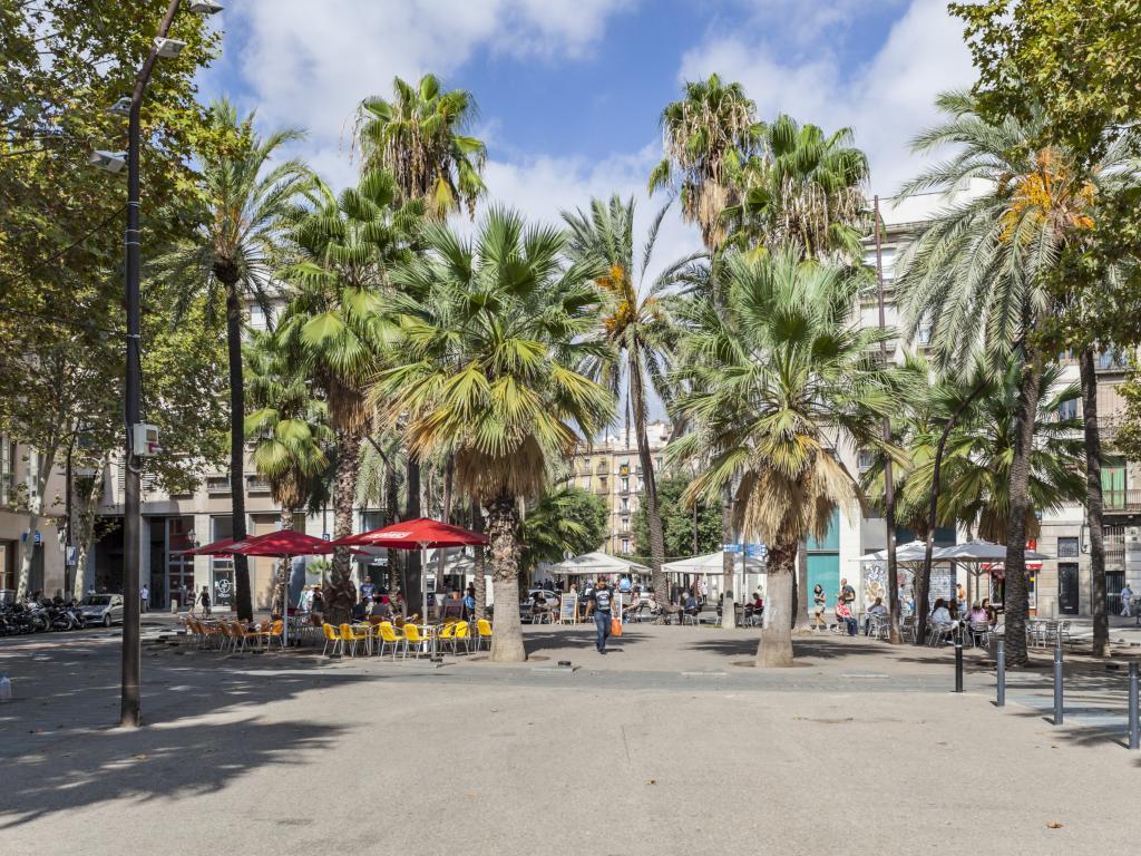 A summer view of Rambla del Raval, Ciutat Vella district, Raval quarter. Barcelona