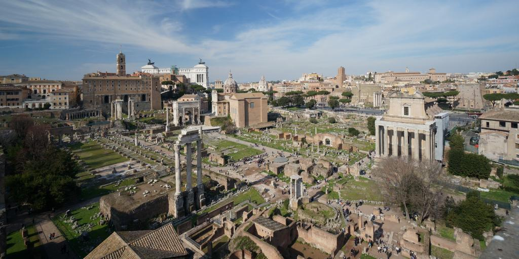 High up shot of the Roman Forum on a sunny day in Rome