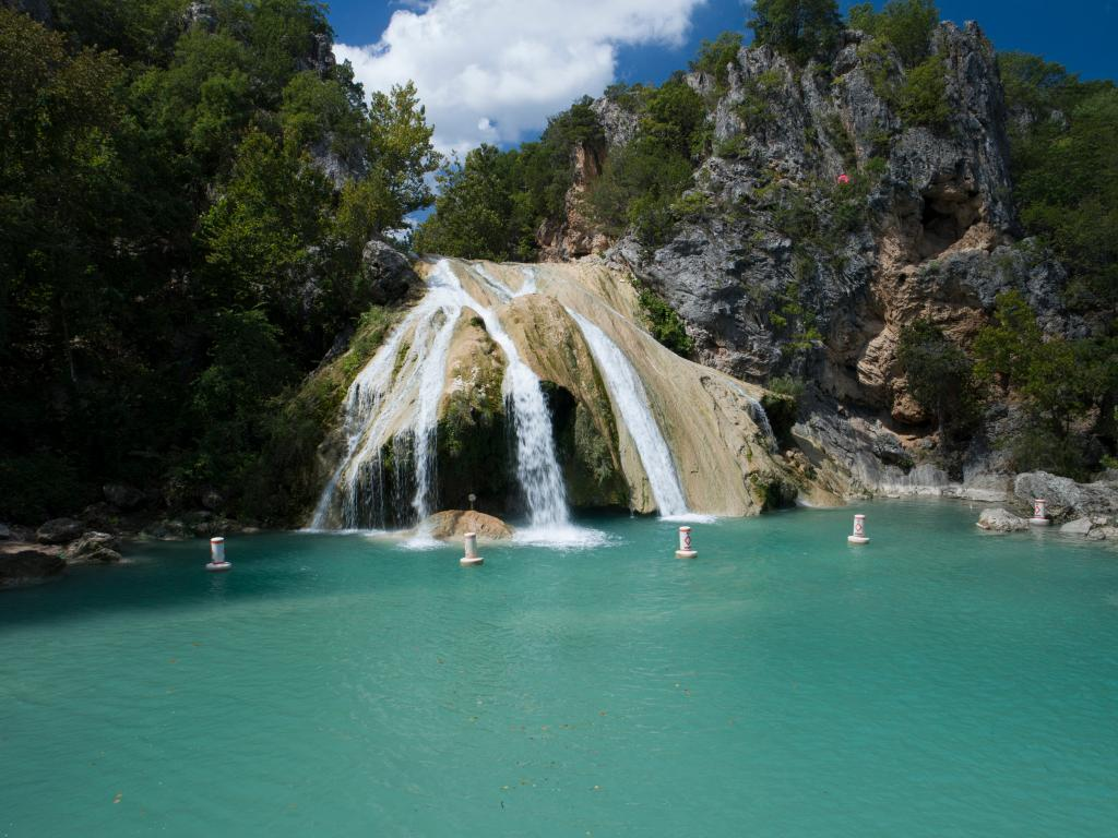 Turner Falls in Oklahoma on a bright summer's day.