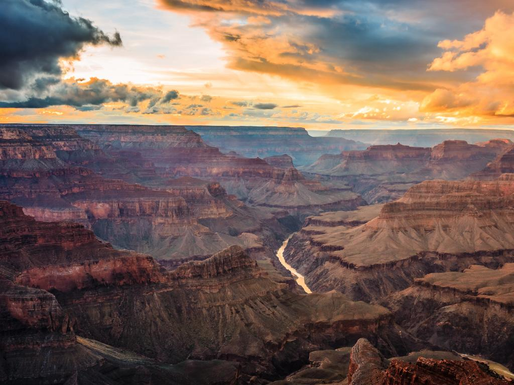 A Scenic view of the Grand Canyon in Grand Canyon National Park during dusk.