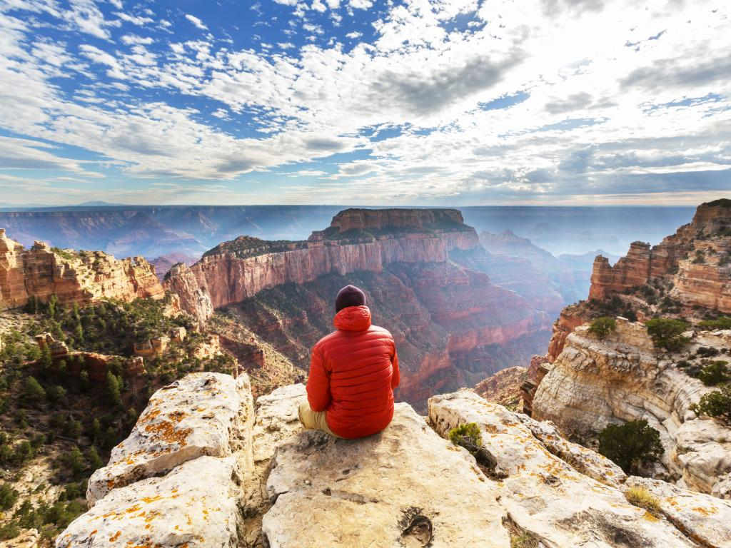 Hiker looking into the Grand Canyon from the top, Arizona