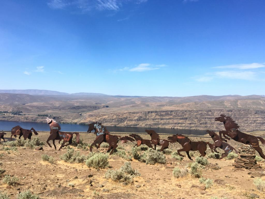 An image with several wild horses sculpted by David Govedare in Vantage, Washington.