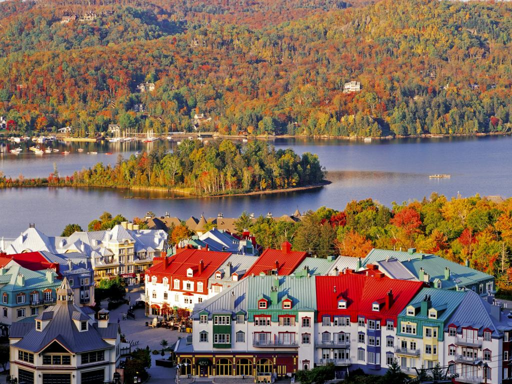 Mont Tremblant town, view of the lake and National Park in the fall