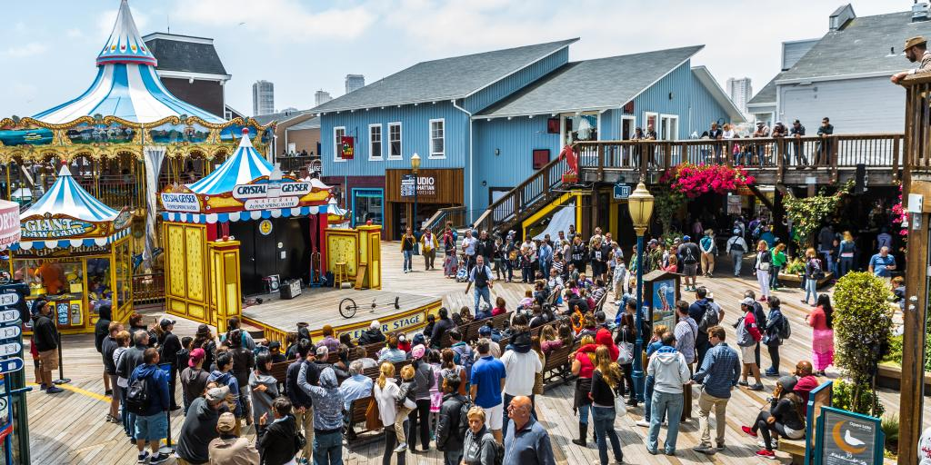 Shops and restaurants at Pier 39 on San Francisco Bay - part of Fishermans Wharf neighborhood.