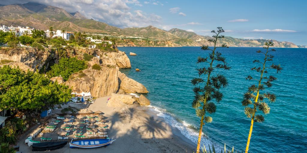Perfect sea  at the Nerja beach cove