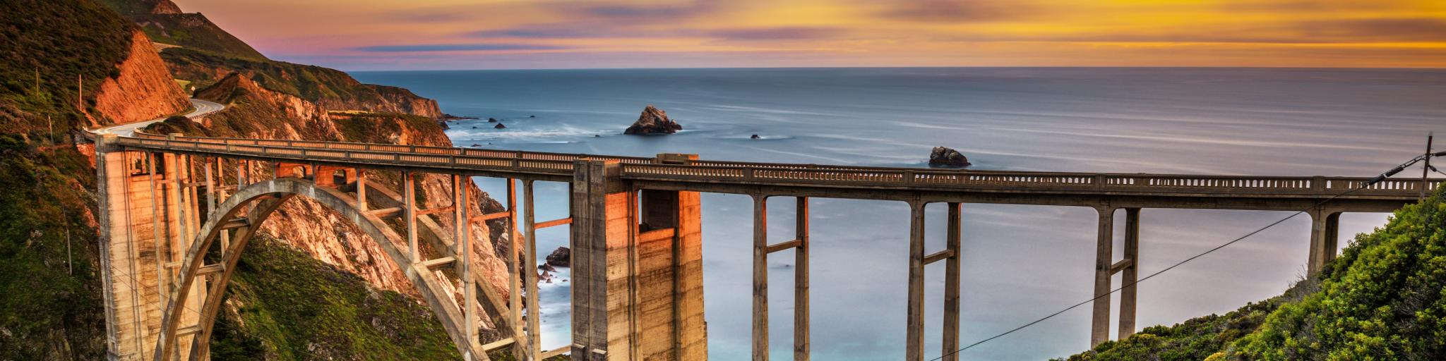 Bixby Creek Bridge is one of the highlights of Highway 1 that runs through the Big Sur in California.