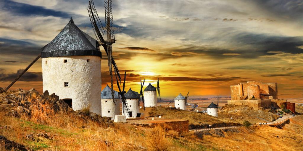 Beautiful windmills in Campo de Criptana on a drive through Castilla-La Mancha
