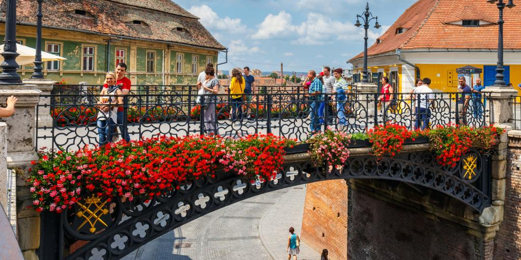 The Bridge of Lies in Sibiu decorated with colourful flowers