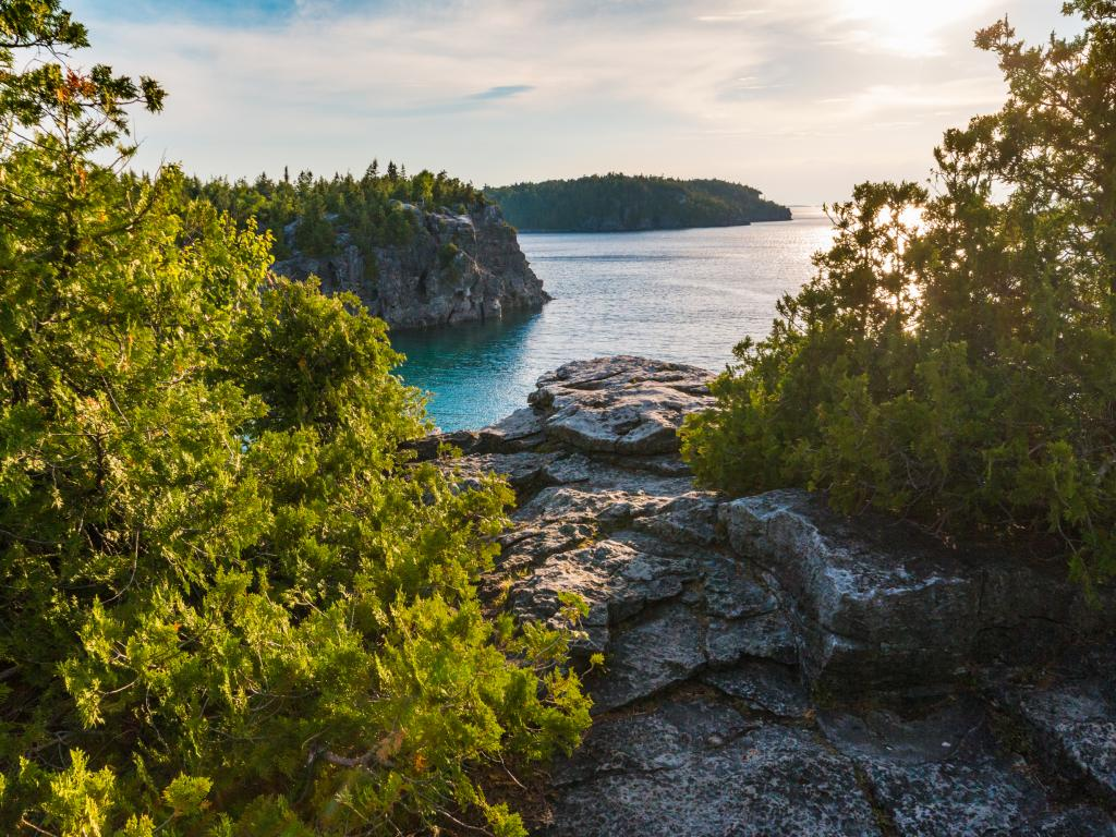 View from the Halfway Rock Point along the Bruce Trail in Bruce Peninsula National Park, Ontario, Canada
