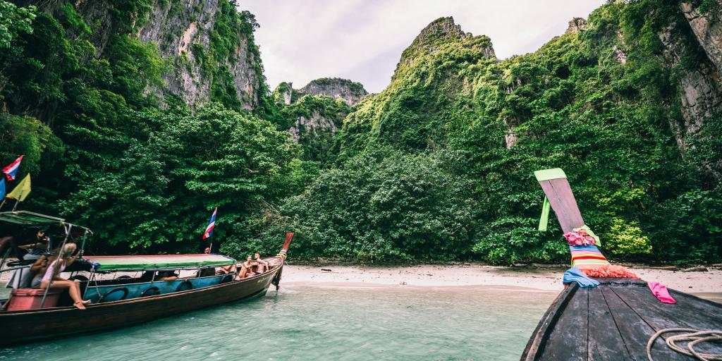 Boats pulling up on Koh Phi Phi, Thailand