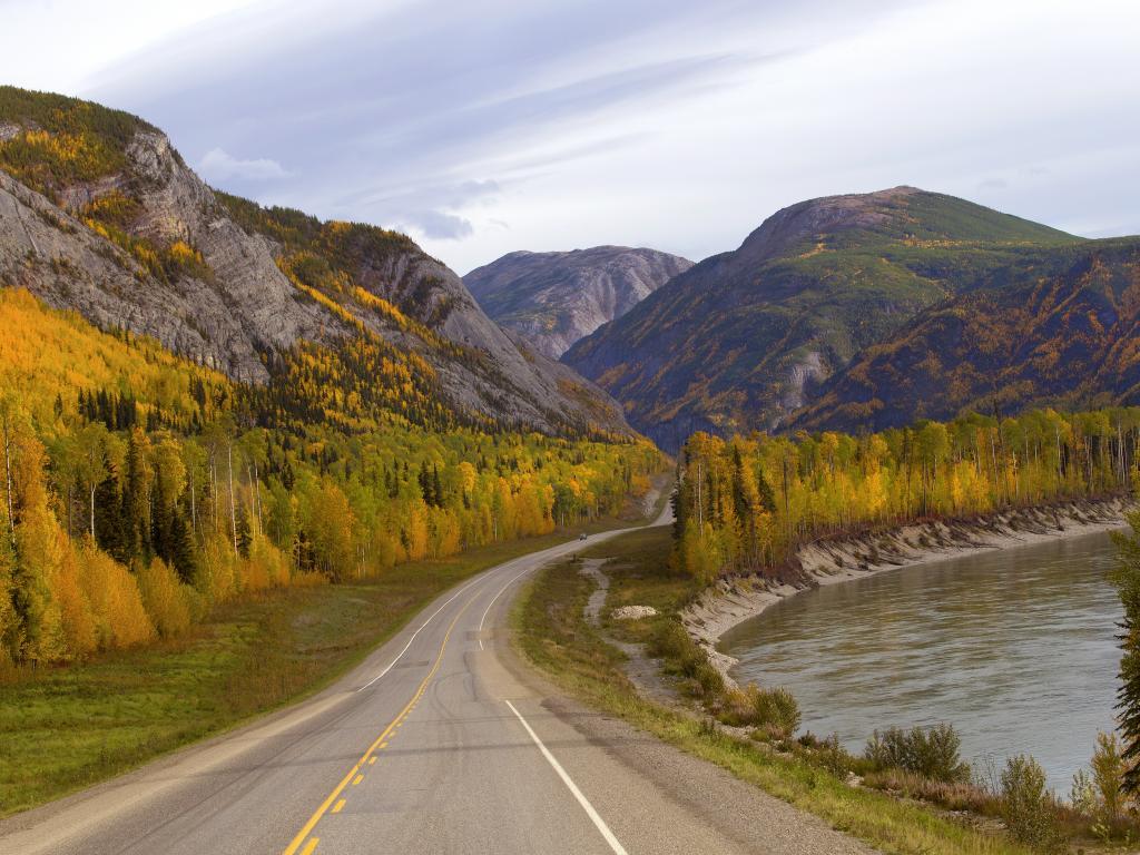 Alaskan Highway crossing the northern Rockies in Yukon, Canada on the way to Alaska.