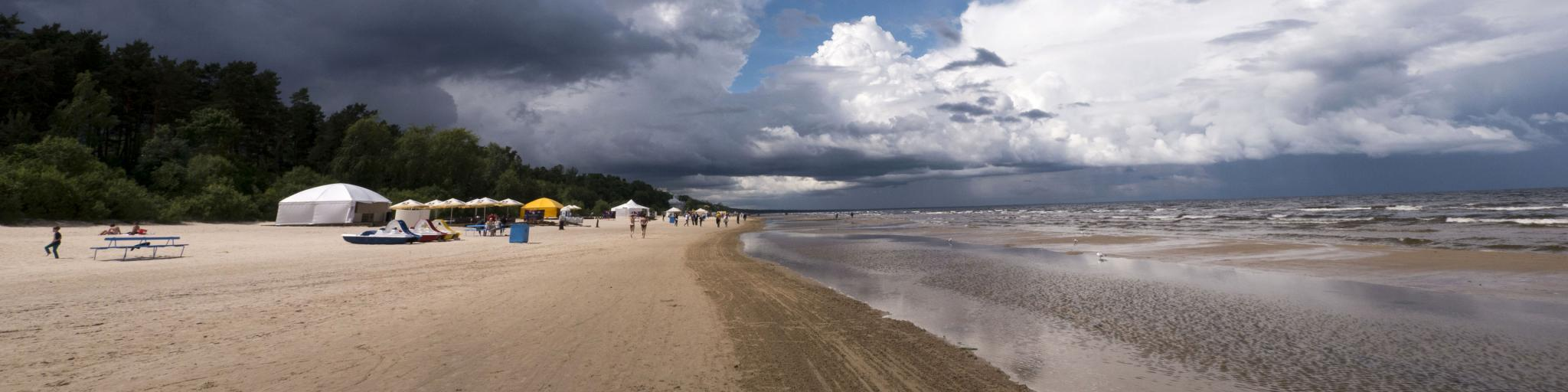 A beach scene in Jurmala, Latvia