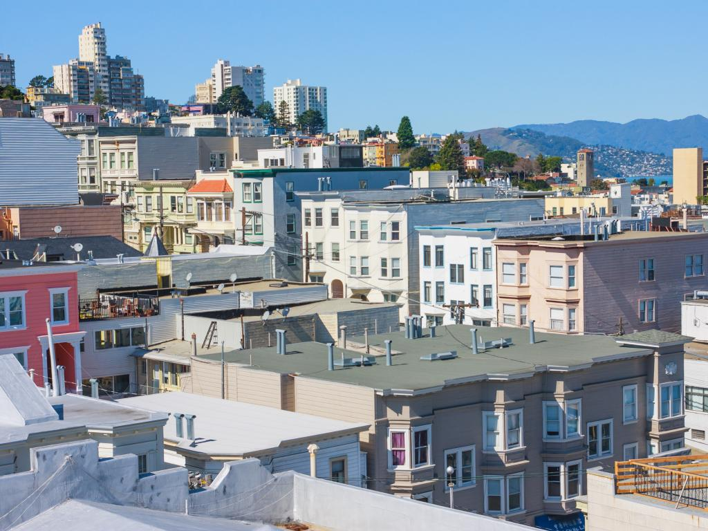 Russian Hill neighbourhood - view from a rooftop in San Francisco