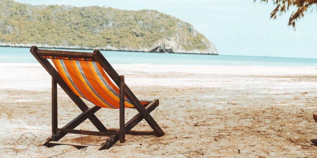 A deck chair on the beach, Phuket