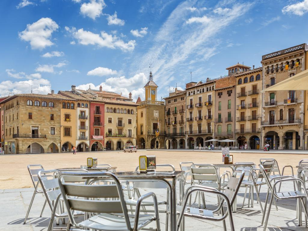 The relaxed Placa Major square in Vic, Spain