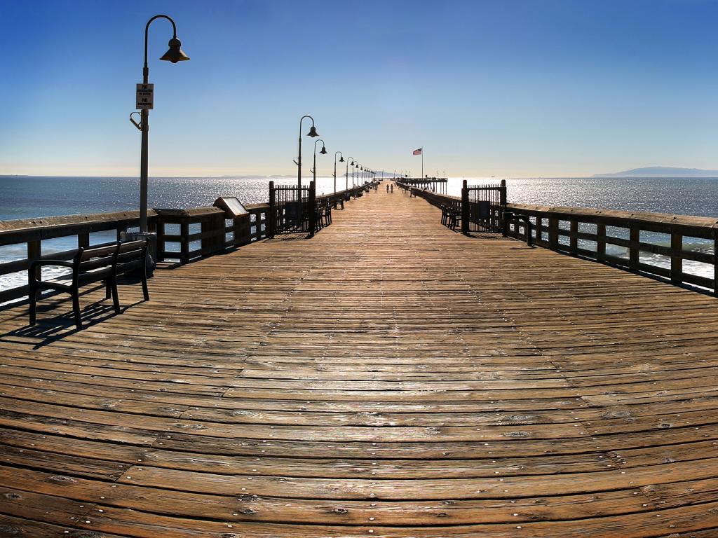 Ventura Pier and Santa Cruz Island on the horizon in Ventura, California