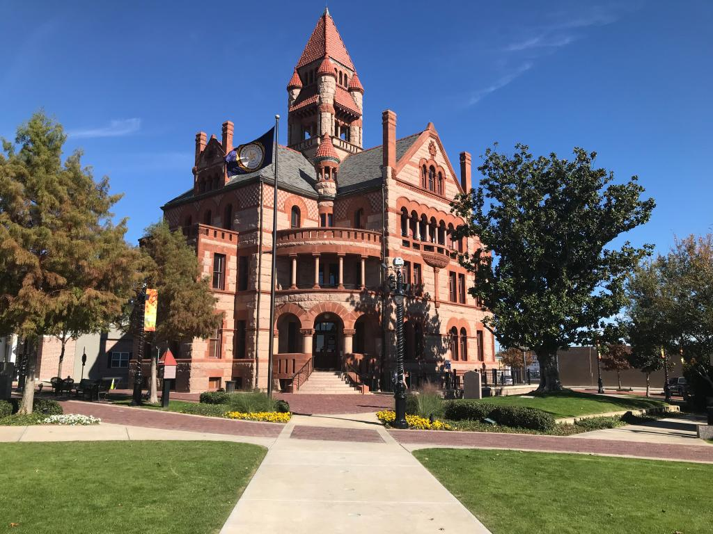 The Hopkins County Courthouse building and Celebration Plaza in Sulphur Springs, Texas