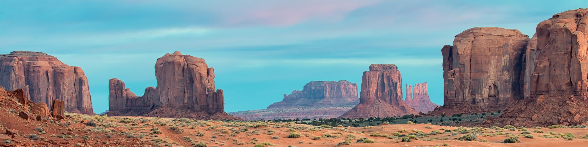 Sunrise at the buttes of Monument Valley on the Arizona - Utah border.