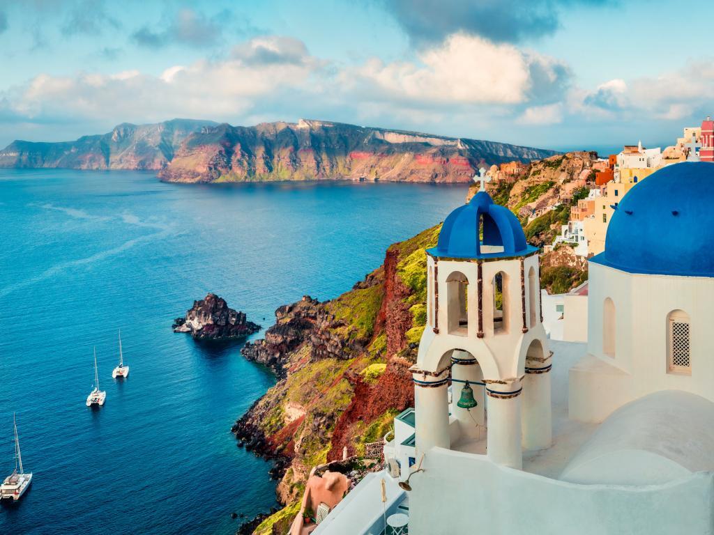 Panoramic view of Santorini island and sea from Oia, Greece