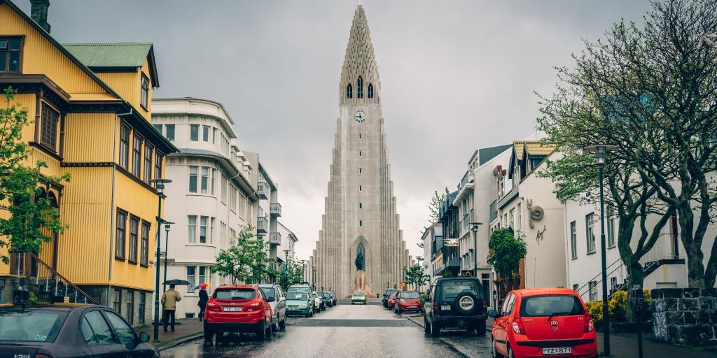 At 74.5 metres high, Hallgrímskirkja church is the most distinctive landmark in Reykjavik