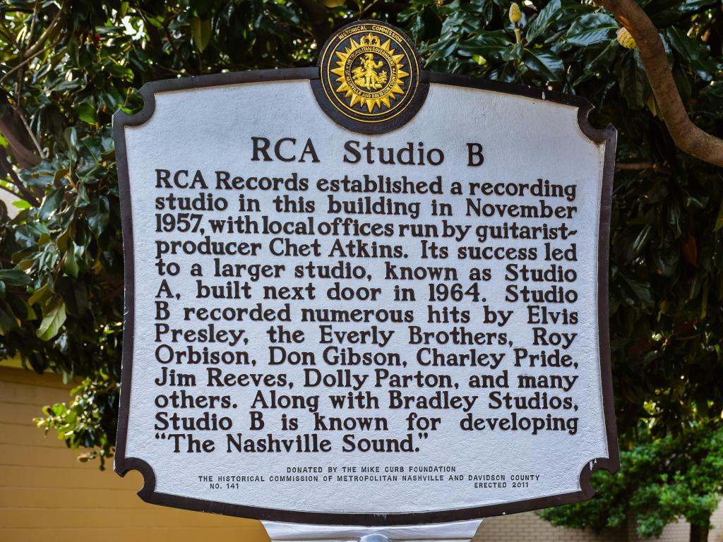 Plaque outside the Nashville RCA Studio B recording studio