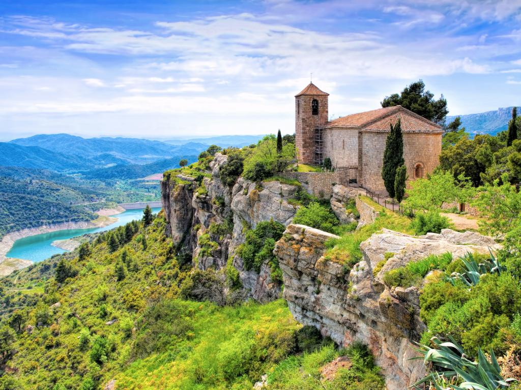 Santa Maria de Siurana church overlooking a mountain valley