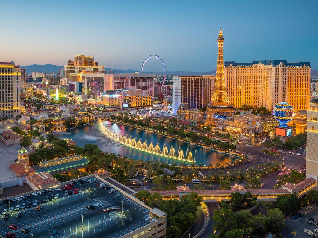 The Bellagio Fountain and Caesars Paris hotel on the Las Vegas Strip in Nevada