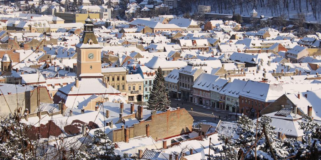 Snowy rooftops in Brasov, Romania at Christmas