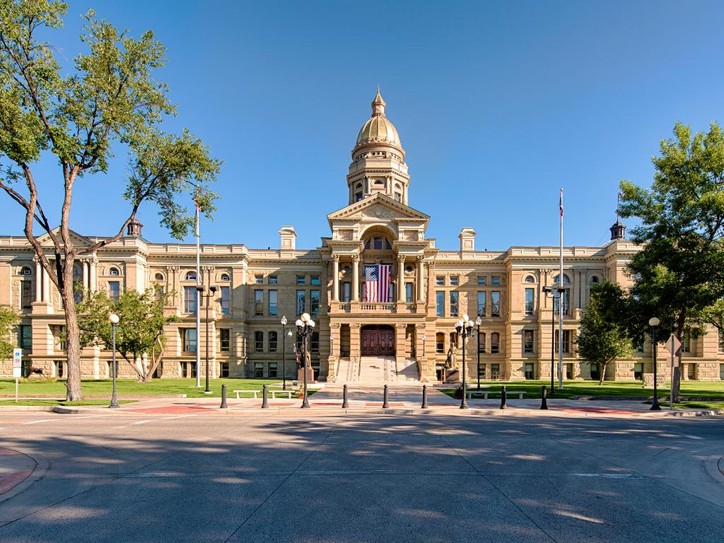 State Capitol Building in Cheyenne, Wyoming - view from the front on a beautiful day