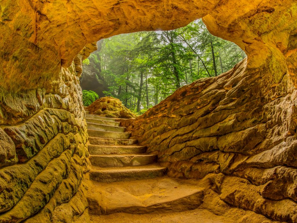 Staircase in Hocking Hills State Park in Ohio