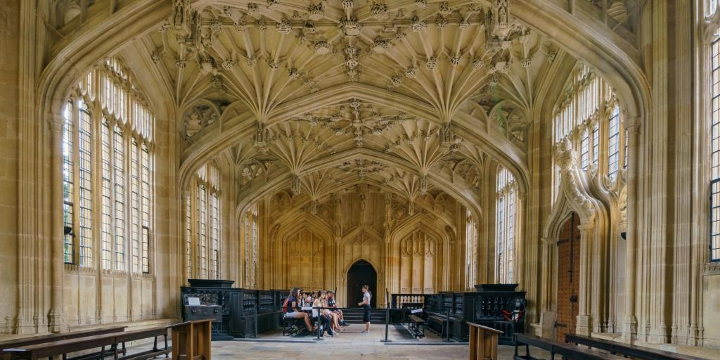 Interior view of the Divinity School in the Bodleian Library, Oxford