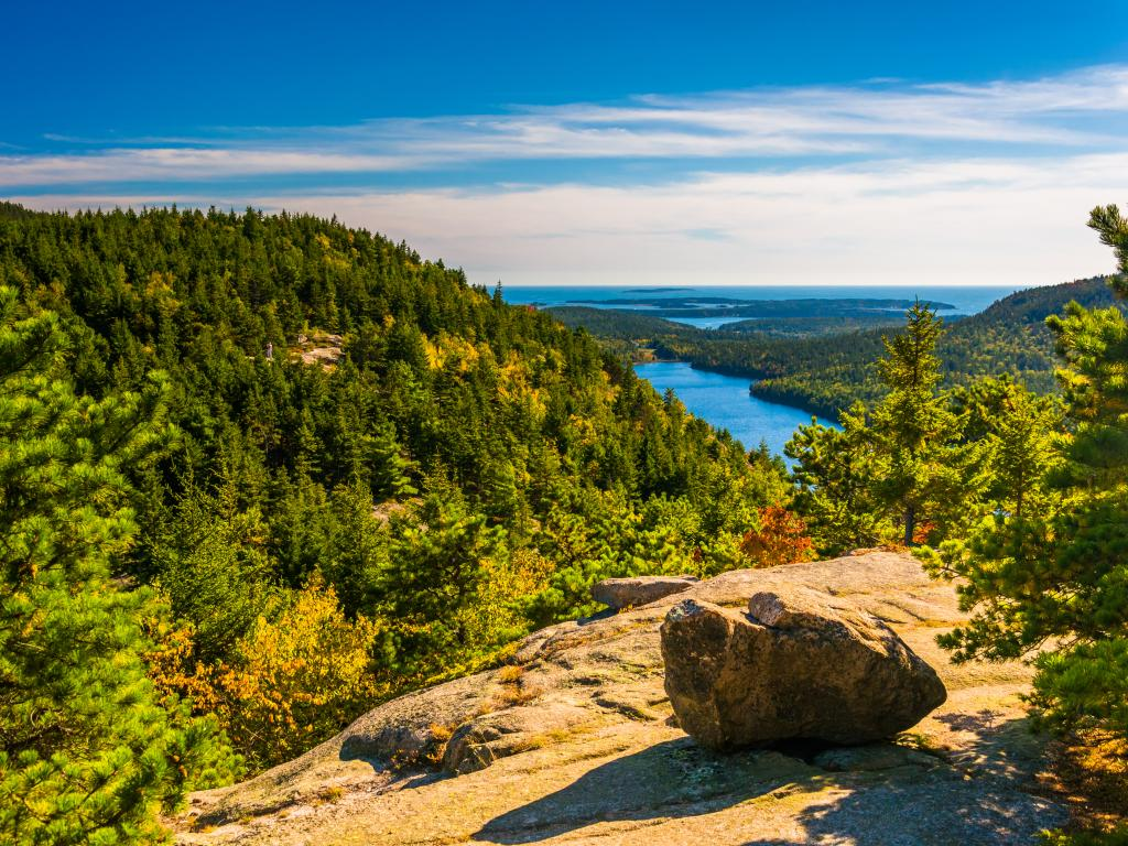 View of the forest and lakes from the North Bubble in Acadia National Park, Maine.