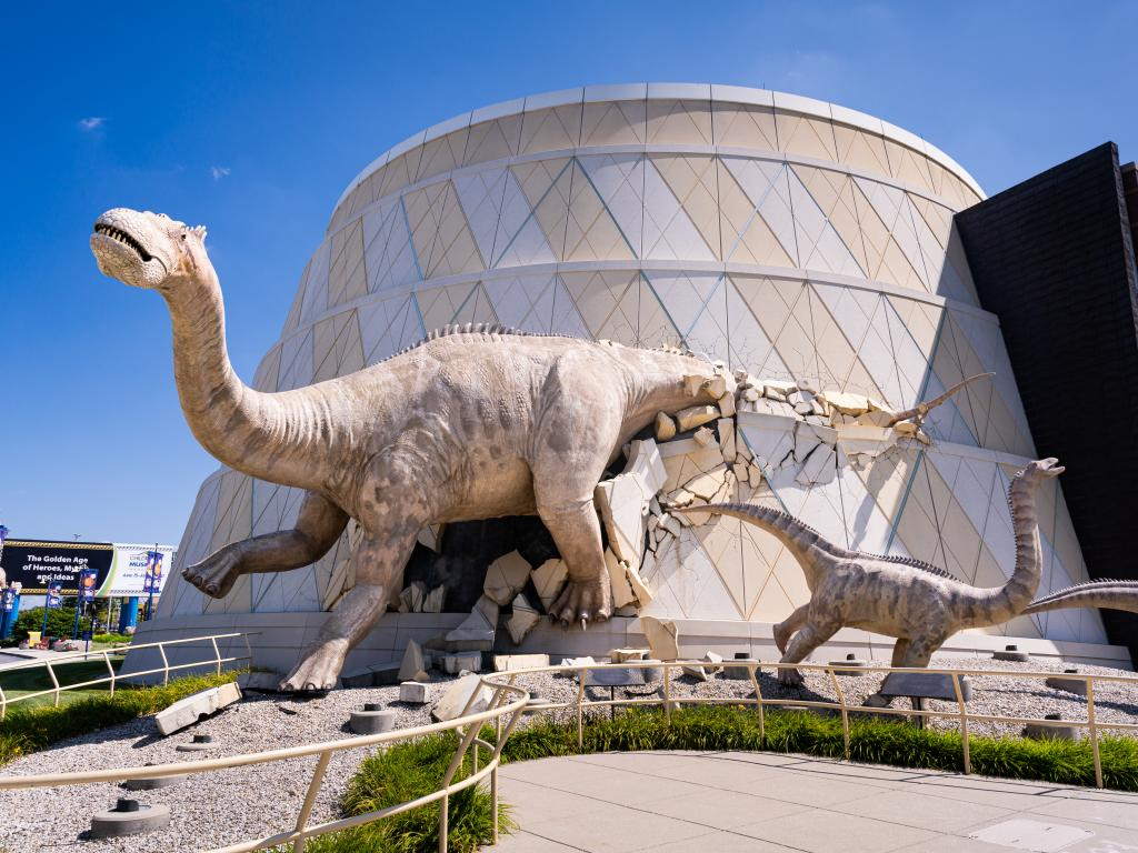 Indianapolis Children's museum with models of dinosaurs