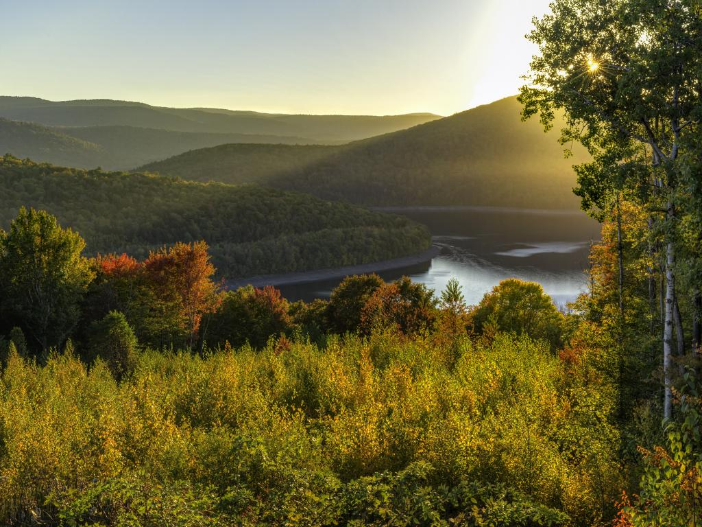 The rolling hills of the Catskills around Pepacton Reservoir at sunset in upstate New York