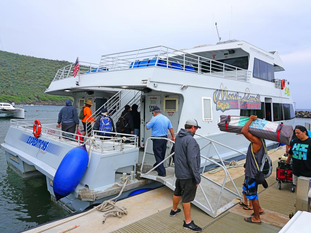 Passengers boarding the Maui-Lanai ferry boat in Hawaii.