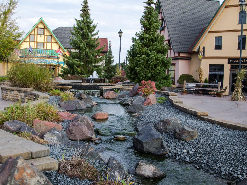 Quaint Riverplace Shops in Frankenmuth's downtown - Michigan off Lake Huron