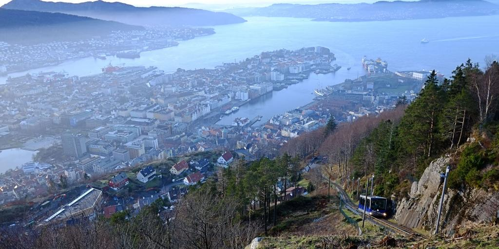 Fløibanen funicular climbs to the top of Fløyen mountain in Bergen, Norway