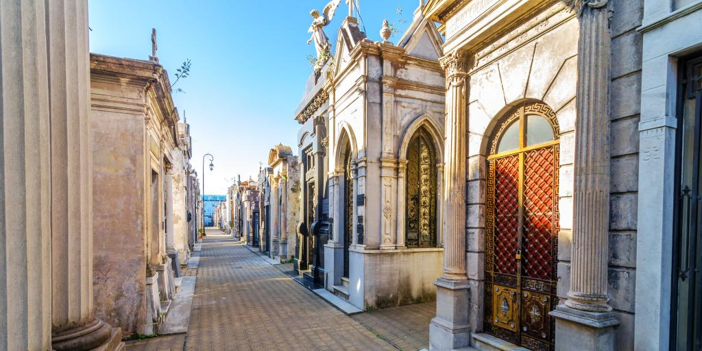 Large, ornate, rectangular tombs at Recoleta Cemetery, Buenos Aires, Argentina