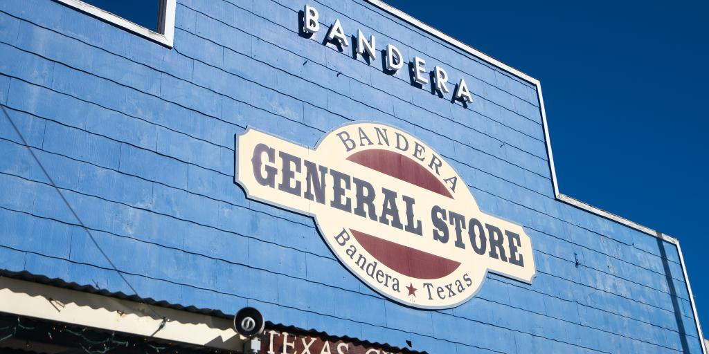 The front sign of Bandera General Store, Texas
